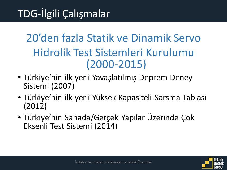 TDG-İlgili Çalışmalar İzolatör Test Sistemi-Bileşenler ve Teknik Özellikler 20'den fazla Statik ve Dinamik Servo Hidrolik Test Sistemleri Kurulumu (2000-2015) Türkiye'nin ilk yerli Yavaşlatılmış Deprem Deney Sistemi (2007) Türkiye'nin ilk yerli Yüksek Kapasiteli Sarsma Tablası (2012) Türkiye'nin Sahada/Gerçek Yapılar Üzerinde Çok Eksenli Test Sistemi (2014)