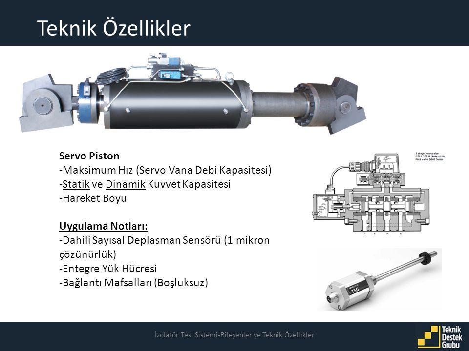Teknik Özellikler İzolatör Test Sistemi-Bileşenler ve Teknik Özellikler Servo Piston -Maksimum Hız (Servo Vana Debi Kapasitesi) -Statik ve Dinamik Kuvvet Kapasitesi -Hareket Boyu Uygulama Notları: -Dahili Sayısal Deplasman Sensörü (1 mikron çözünürlük) -Entegre Yük Hücresi -Bağlantı Mafsalları (Boşluksuz)