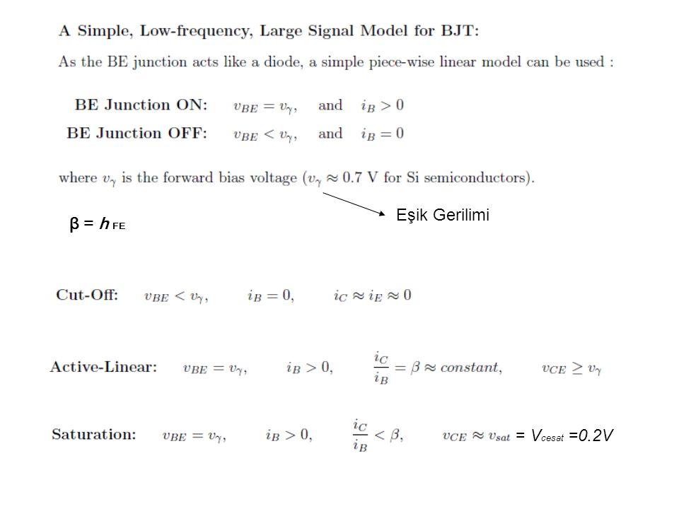β = h FE Eşik Gerilimi = V cesat =0.2V