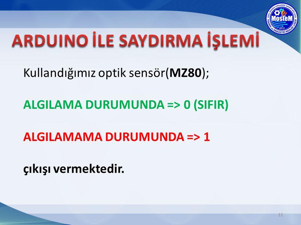 Kullandığımız optik sensör(MZ80); ALGILAMA DURUMUNDA => 0 (SIFIR) ALGILAMAMA DURUMUNDA => 1 çıkışı vermektedir. 11