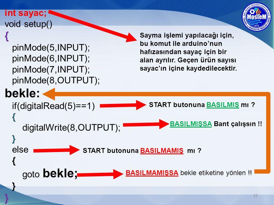 15 int sayac; void setup() { pinMode(5,INPUT); pinMode(6,INPUT); pinMode(7,INPUT); pinMode(8,OUTPUT); bekle: if(digitalRead(5)==1) { digitalWrite(8,OUTPUT); } else { goto bekle; } } Sayma işlemi yapılacağı için, bu komut ile arduino'nun hafızasından sayaç için bir alan ayrılır.