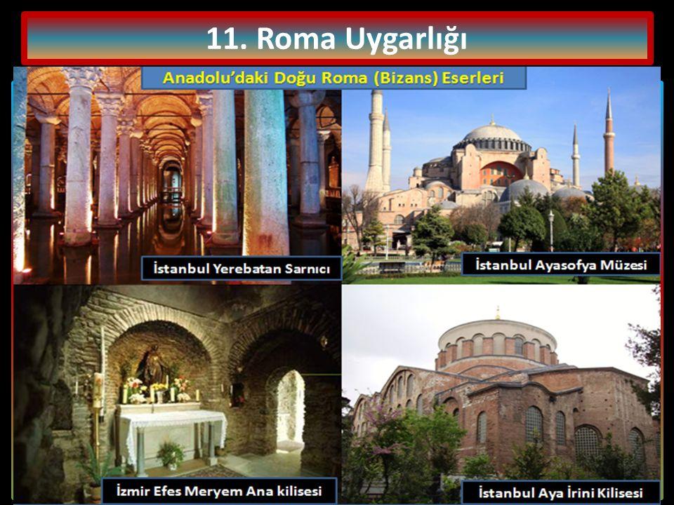11.Roma Uygarlığı Romalılar, çok tanrılı inanca sahip olup Yunan tanrılarını benimsemişlerdi.