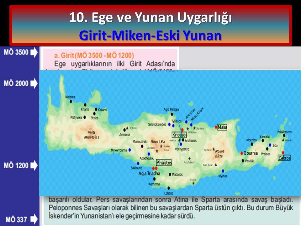 10. Ege ve Yunan Uygarlığı Girit-Miken-Eski Yunan