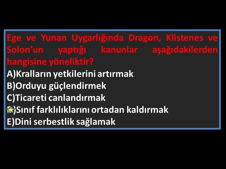 Ege ve Yunan Uygarlığında Dragon, Klistenes ve Solon'un yaptığı kanunlar aşağıdakilerden hangisine yöneliktir? A)Kralların yetkilerini artırmak B)Ordu