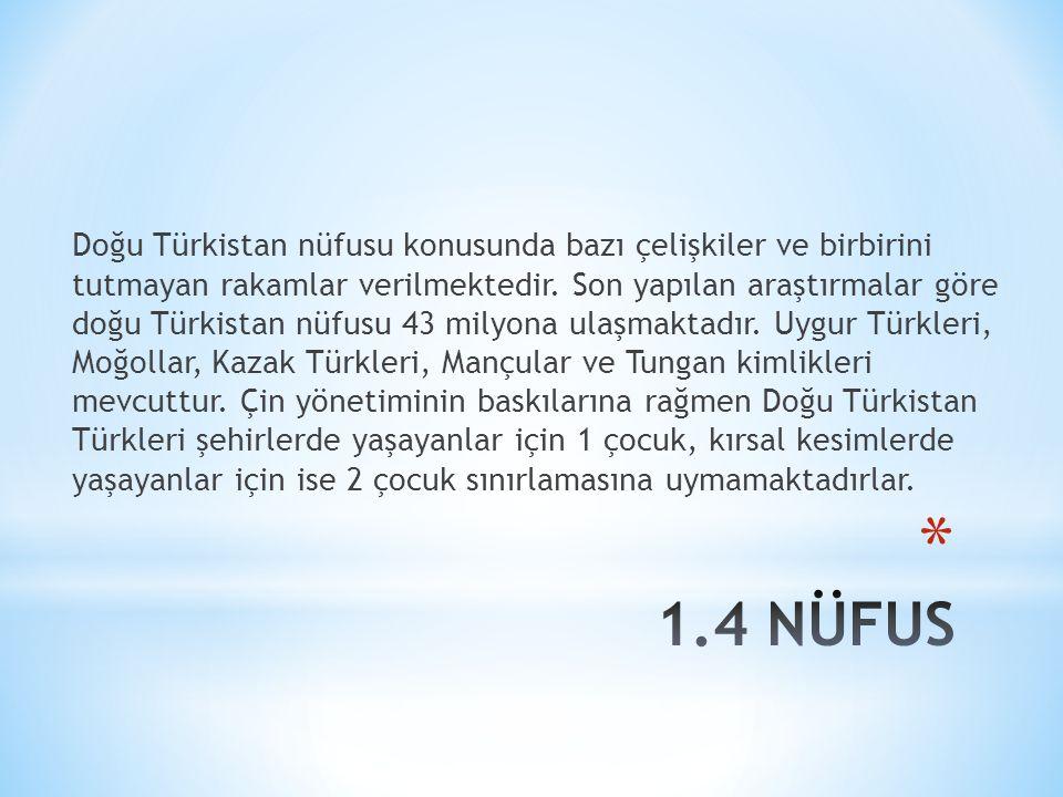 Doğu Türkistan nüfusu konusunda bazı çelişkiler ve birbirini tutmayan rakamlar verilmektedir.