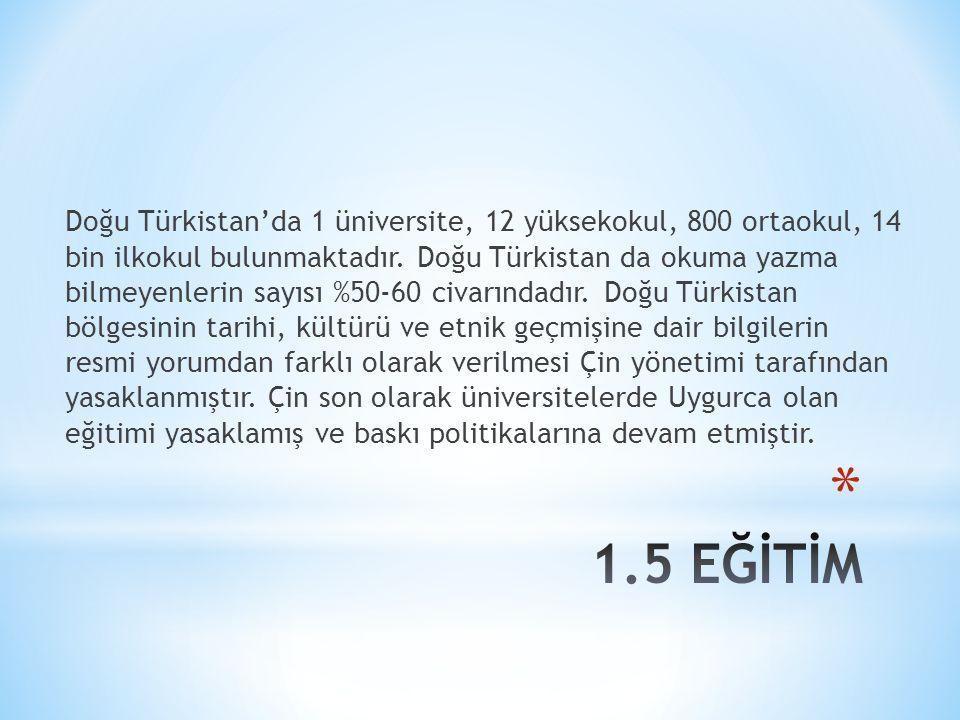 Doğu Türkistan'da 1 üniversite, 12 yüksekokul, 800 ortaokul, 14 bin ilkokul bulunmaktadır. Doğu Türkistan da okuma yazma bilmeyenlerin sayısı %50-60 c