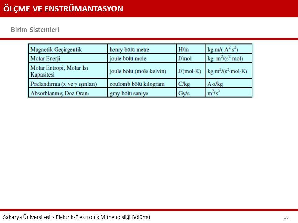 ÖLÇME VE ENSTRÜMANTASYON Birim Sistemleri Sakarya Üniversitesi - Elektrik-Elektronik Mühendisliği Bölümü 10