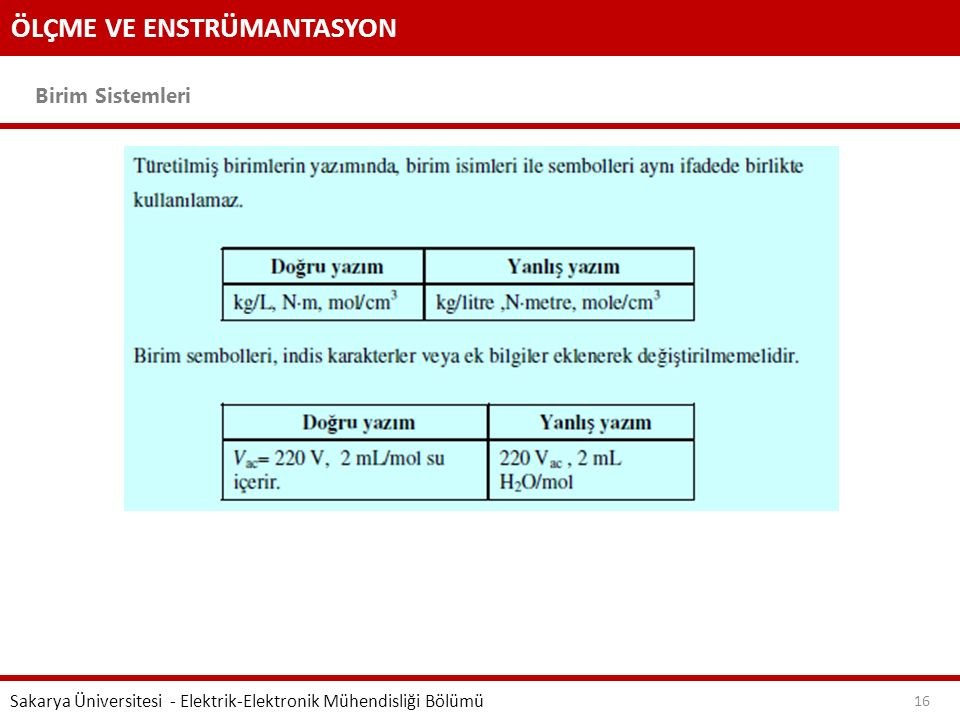 ÖLÇME VE ENSTRÜMANTASYON Birim Sistemleri Sakarya Üniversitesi - Elektrik-Elektronik Mühendisliği Bölümü 16