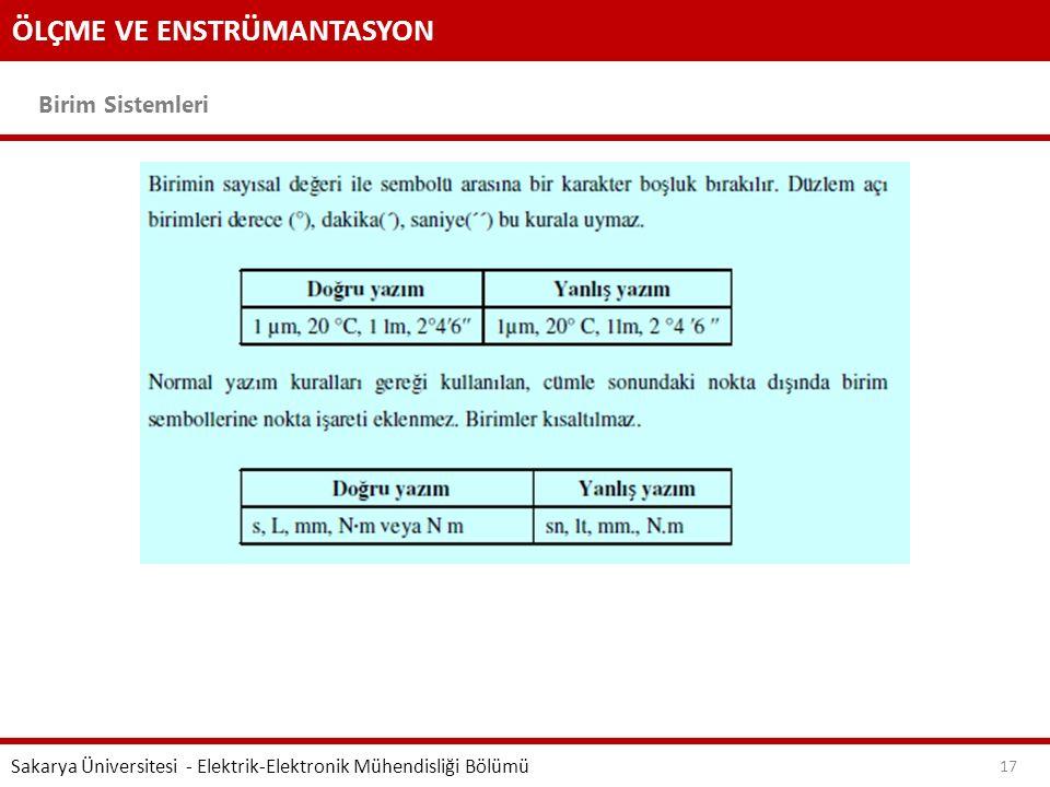 ÖLÇME VE ENSTRÜMANTASYON Birim Sistemleri Sakarya Üniversitesi - Elektrik-Elektronik Mühendisliği Bölümü 17