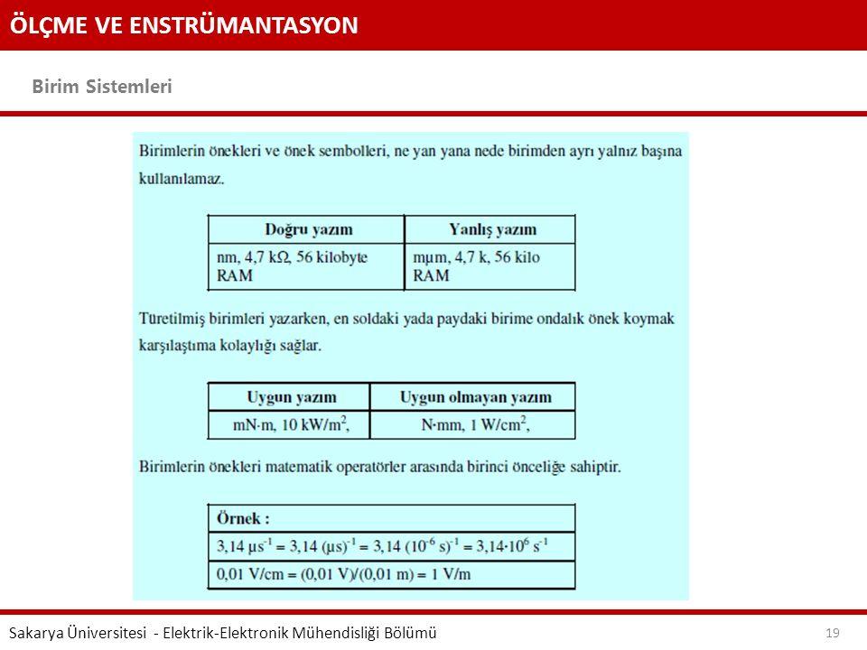 ÖLÇME VE ENSTRÜMANTASYON Birim Sistemleri Sakarya Üniversitesi - Elektrik-Elektronik Mühendisliği Bölümü 19