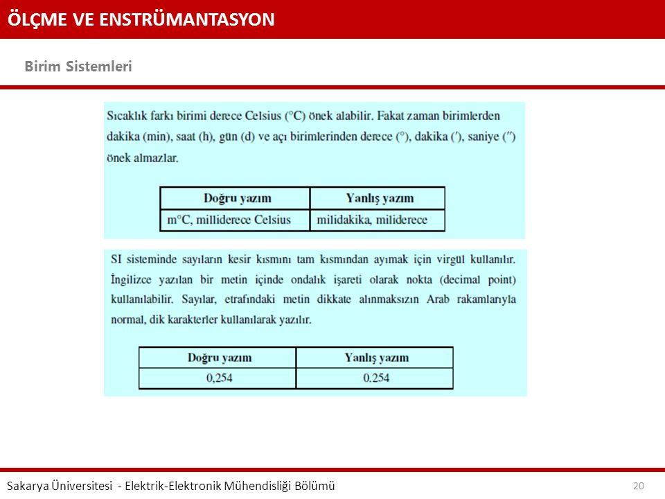 ÖLÇME VE ENSTRÜMANTASYON Birim Sistemleri Sakarya Üniversitesi - Elektrik-Elektronik Mühendisliği Bölümü 20