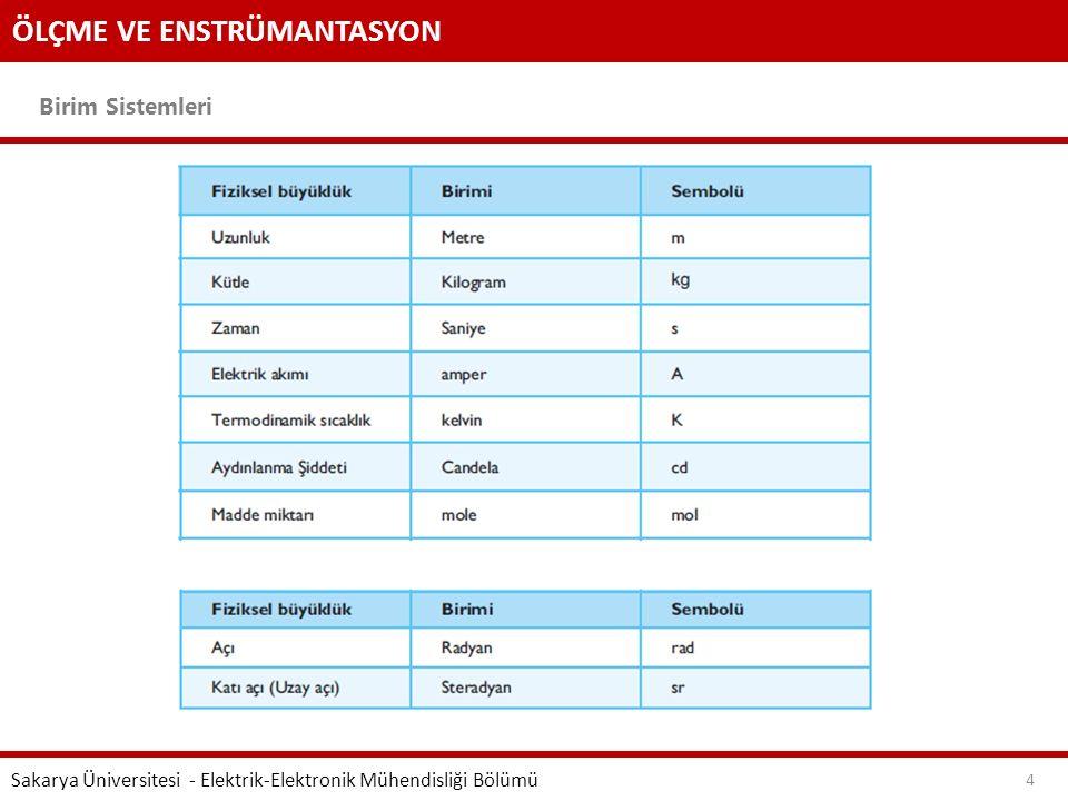 ÖLÇME VE ENSTRÜMANTASYON Birim Sistemleri Sakarya Üniversitesi - Elektrik-Elektronik Mühendisliği Bölümü 4