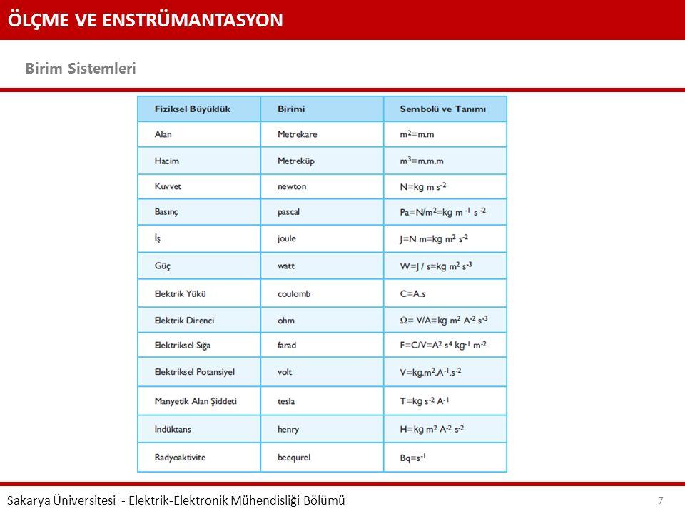 ÖLÇME VE ENSTRÜMANTASYON Birim Sistemleri Sakarya Üniversitesi - Elektrik-Elektronik Mühendisliği Bölümü 7