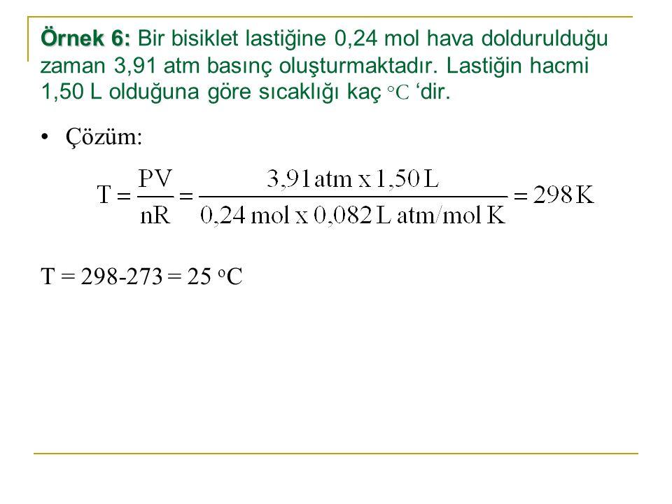 Örnek 6: Örnek 6: Bir bisiklet lastiğine 0,24 mol hava doldurulduğu zaman 3,91 atm basınç oluşturmaktadır. Lastiğin hacmi 1,50 L olduğuna göre sıcaklı