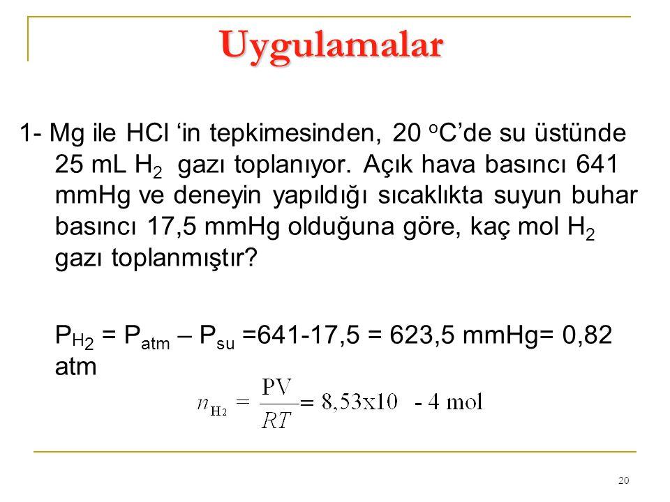 20 Uygulamalar 1- Mg ile HCl 'in tepkimesinden, 20 o C'de su üstünde 25 mL H 2 gazı toplanıyor. Açık hava basıncı 641 mmHg ve deneyin yapıldığı sıcakl