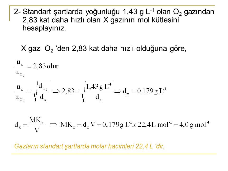 2- Standart şartlarda yoğunluğu 1,43 g L -1 olan O 2 gazından 2,83 kat daha hızlı olan X gazının mol kütlesini hesaplayınız. X gazı O 2 'den 2,83 kat
