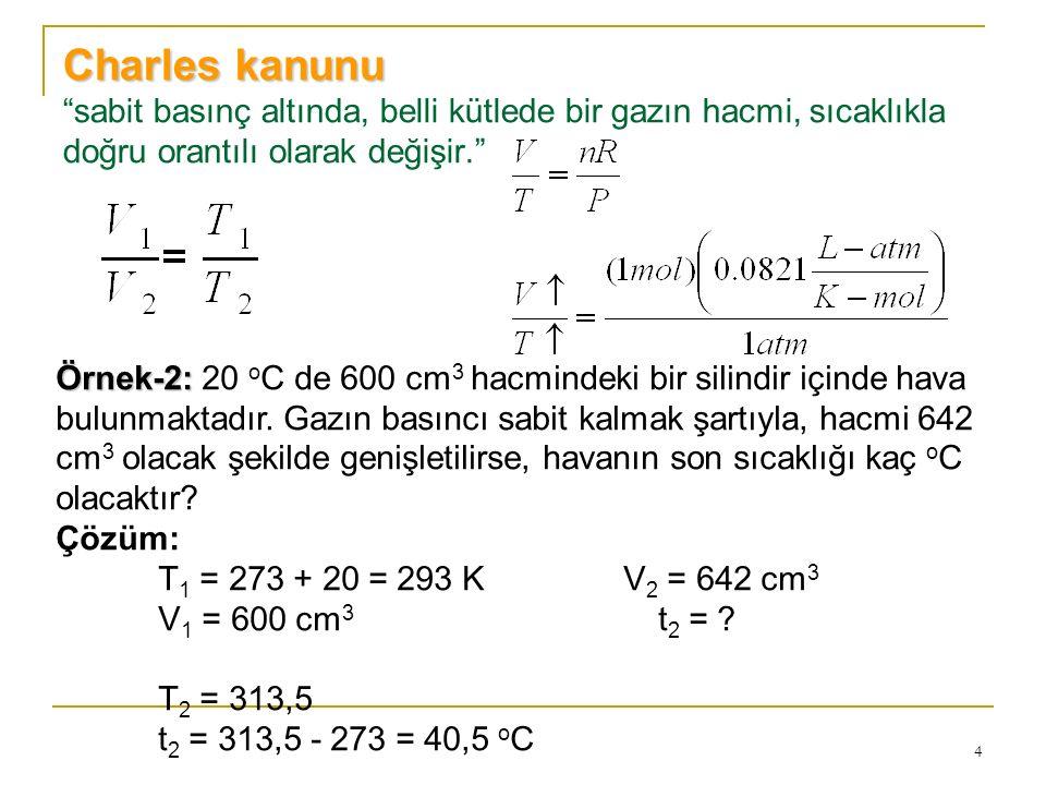 """4 Charles kanunu Charles kanunu """"sabit basınç altında, belli kütlede bir gazın hacmi, sıcaklıkla doğru orantılı olarak değişir."""" Örnek-2: Örnek-2: 20"""