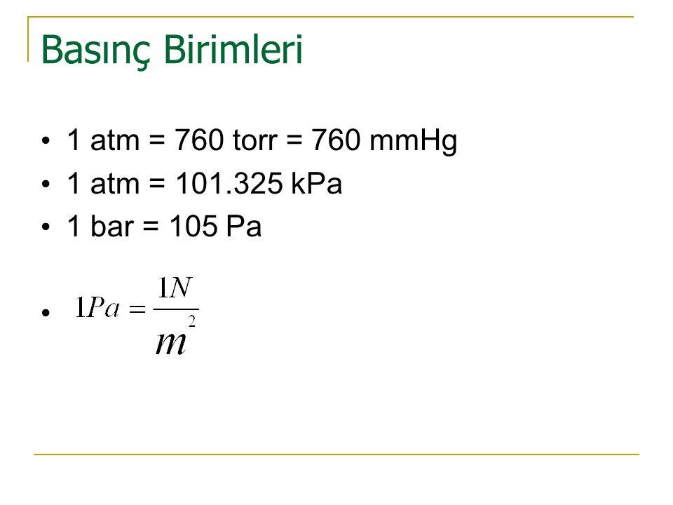 Basınç Birimleri 1 atm = 760 torr = 760 mmHg 1 atm = 101.325 kPa 1 bar = 105 Pa