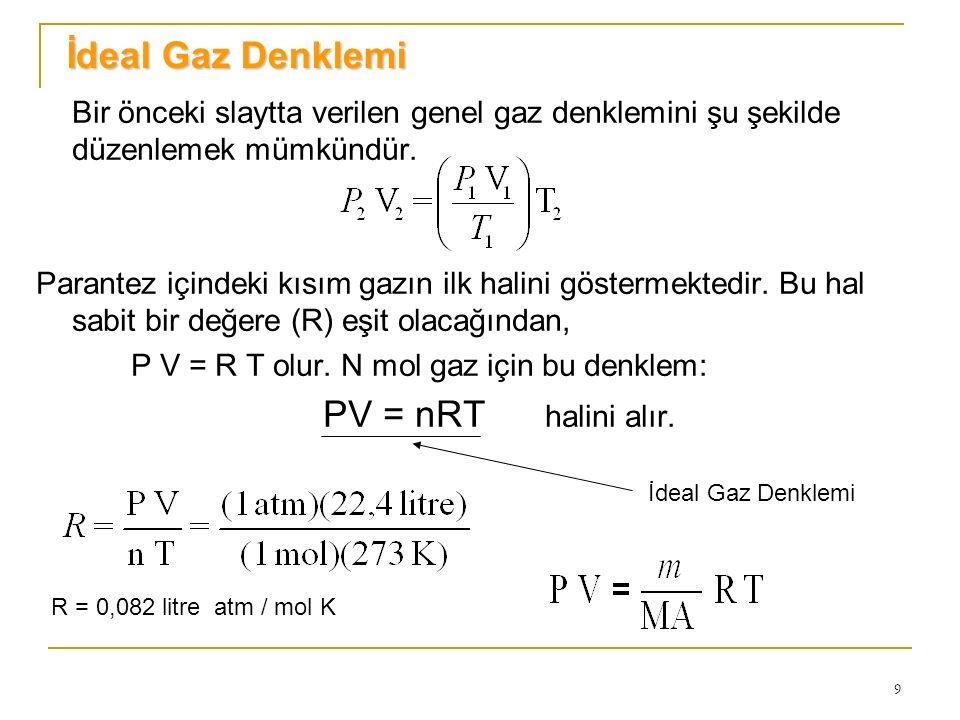 9 Bir önceki slaytta verilen genel gaz denklemini şu şekilde düzenlemek mümkündür. Parantez içindeki kısım gazın ilk halini göstermektedir. Bu hal sab