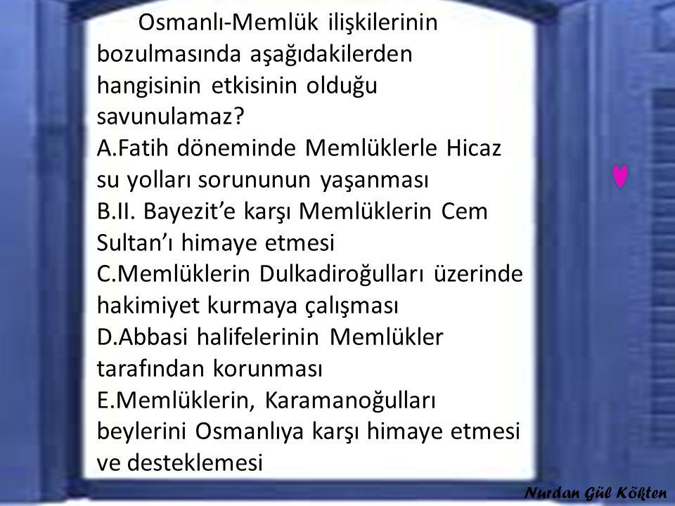 Osmanlı-Memlük ilişkilerinin bozulmasında aşağıdakilerden hangisinin etkisinin olduğu savunulamaz.