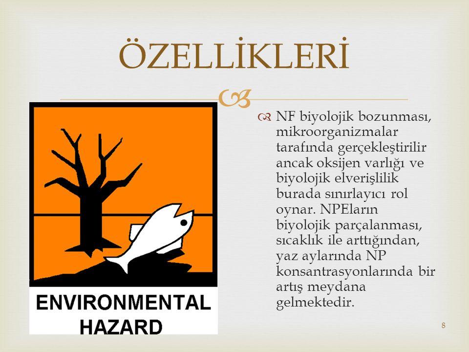   NF biyolojik bozunması, mikroorganizmalar tarafında gerçekleştirilir ancak oksijen varlığı ve biyolojik elverişlilik burada sınırlayıcı rol oynar.