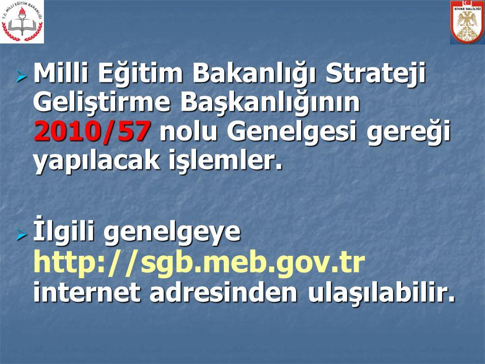 Milli Eğitim Bakanlığı Strateji Geliştirme Başkanlığının 2010/57 nolu Genelgesi gereği yapılacak işlemler.  İlgili genelgeye internet adresinden ul