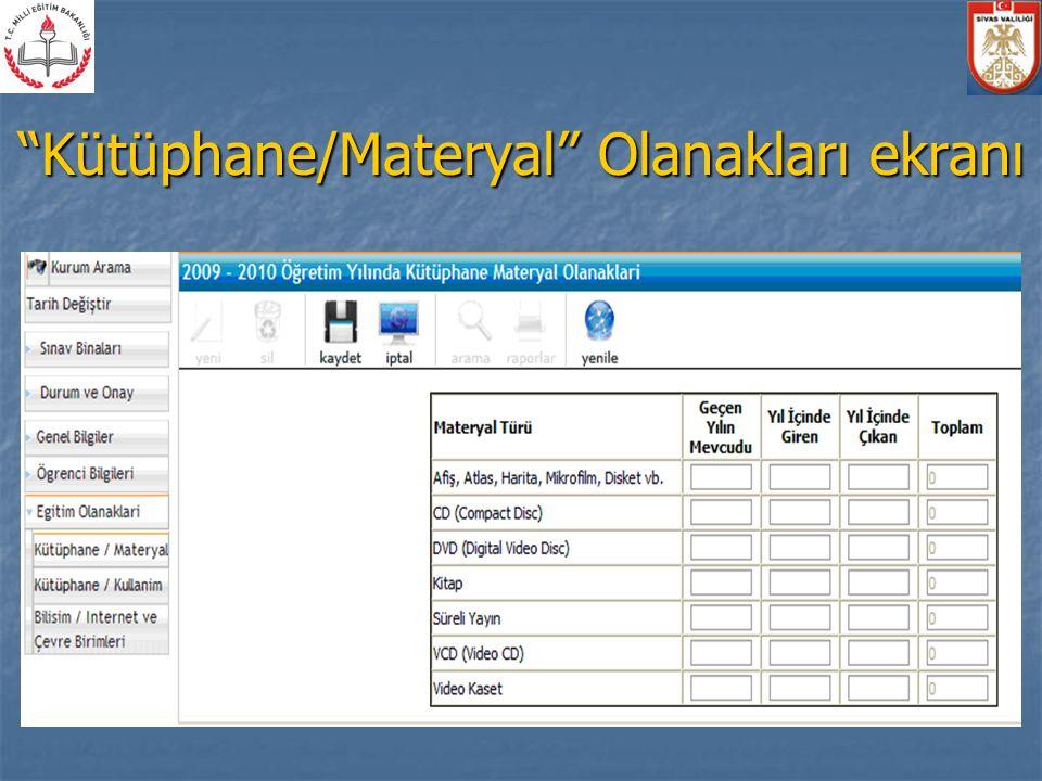 Kütüphane/Materyal Olanakları ekranı