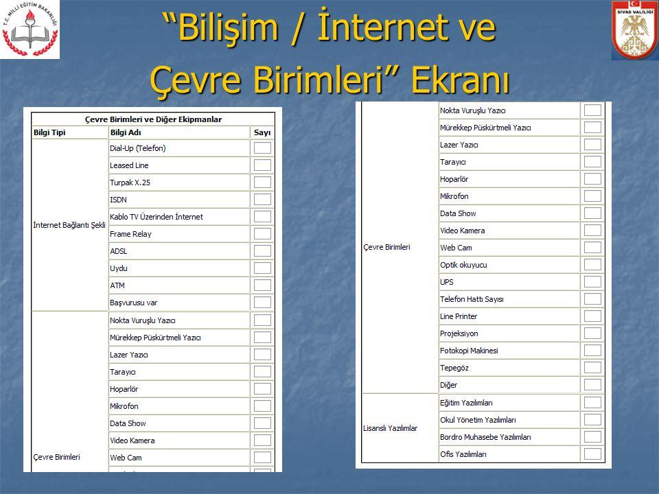 Bilişim / İnternet ve Çevre Birimleri Ekranı