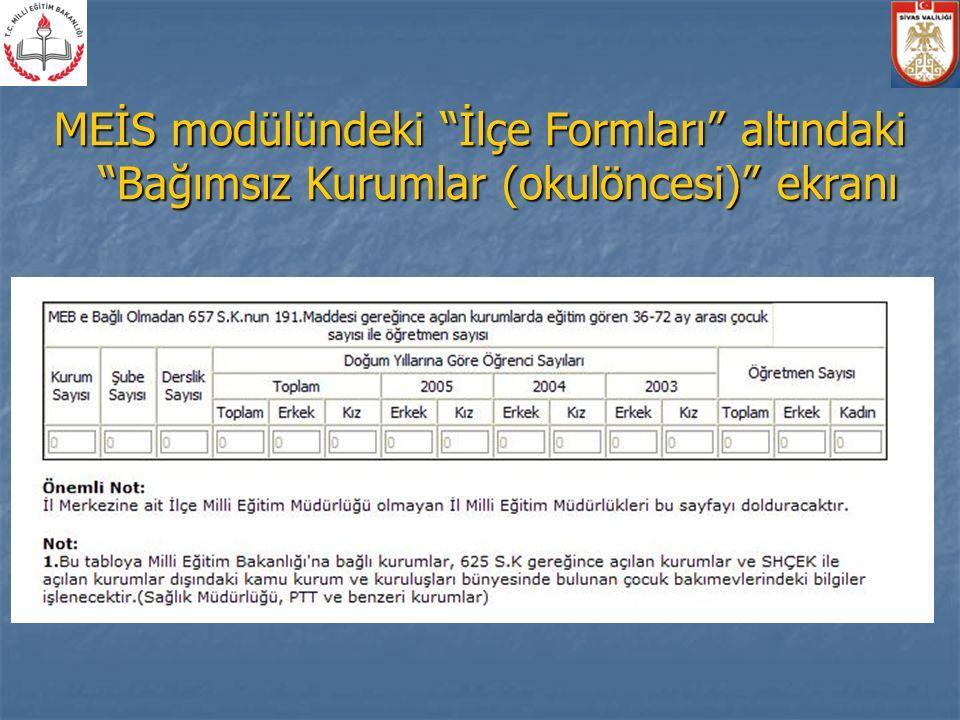 MEİS modülündeki İlçe Formları altındaki Bağımsız Kurumlar (okulöncesi) ekranı