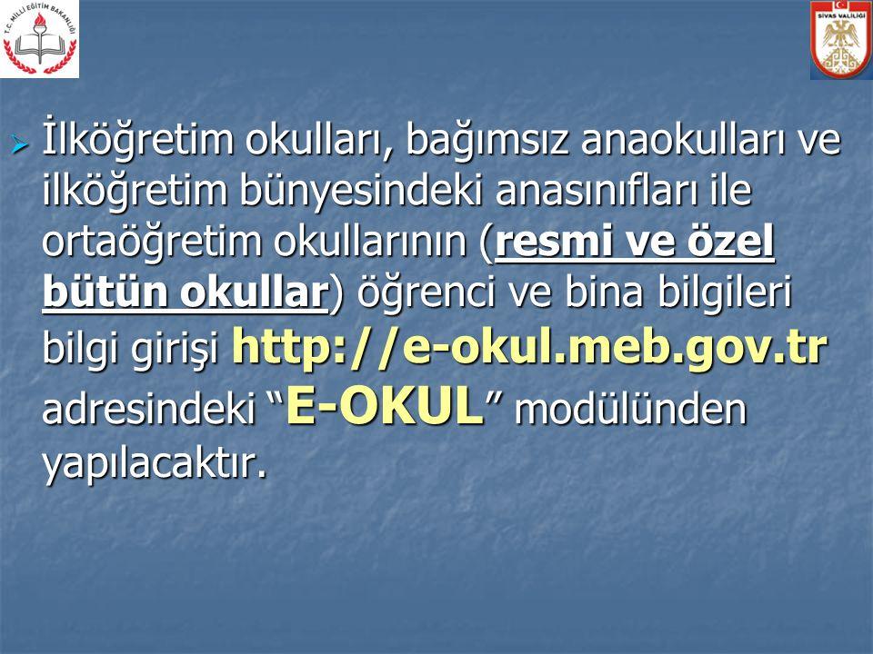  Kurum Genel Bilgileri kontrol edilerek kurum tipi ve yerleşim yeri bilgisi eksik olanlar işlenecektir.