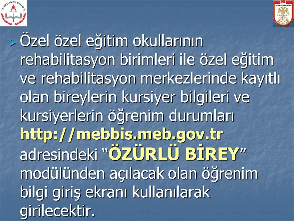  Bu kurumlara ait bina bilgileri, eğitim olanakları ve personel durumu bilgileri http://mebbis.meb.gov.tr adresindeki MEİS modülünden girilecektir.