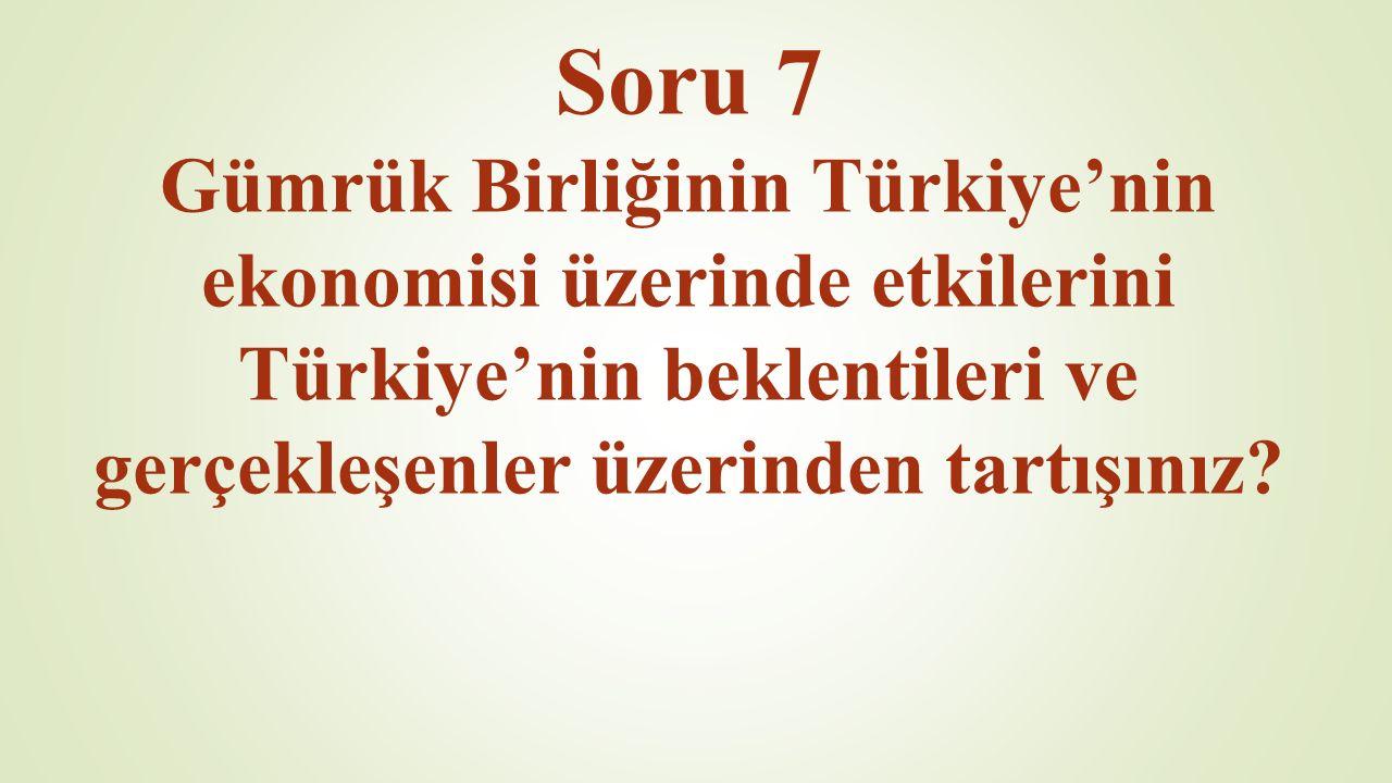 Soru 7 Gümrük Birliğinin Türkiye'nin ekonomisi üzerinde etkilerini Türkiye'nin beklentileri ve gerçekleşenler üzerinden tartışınız?
