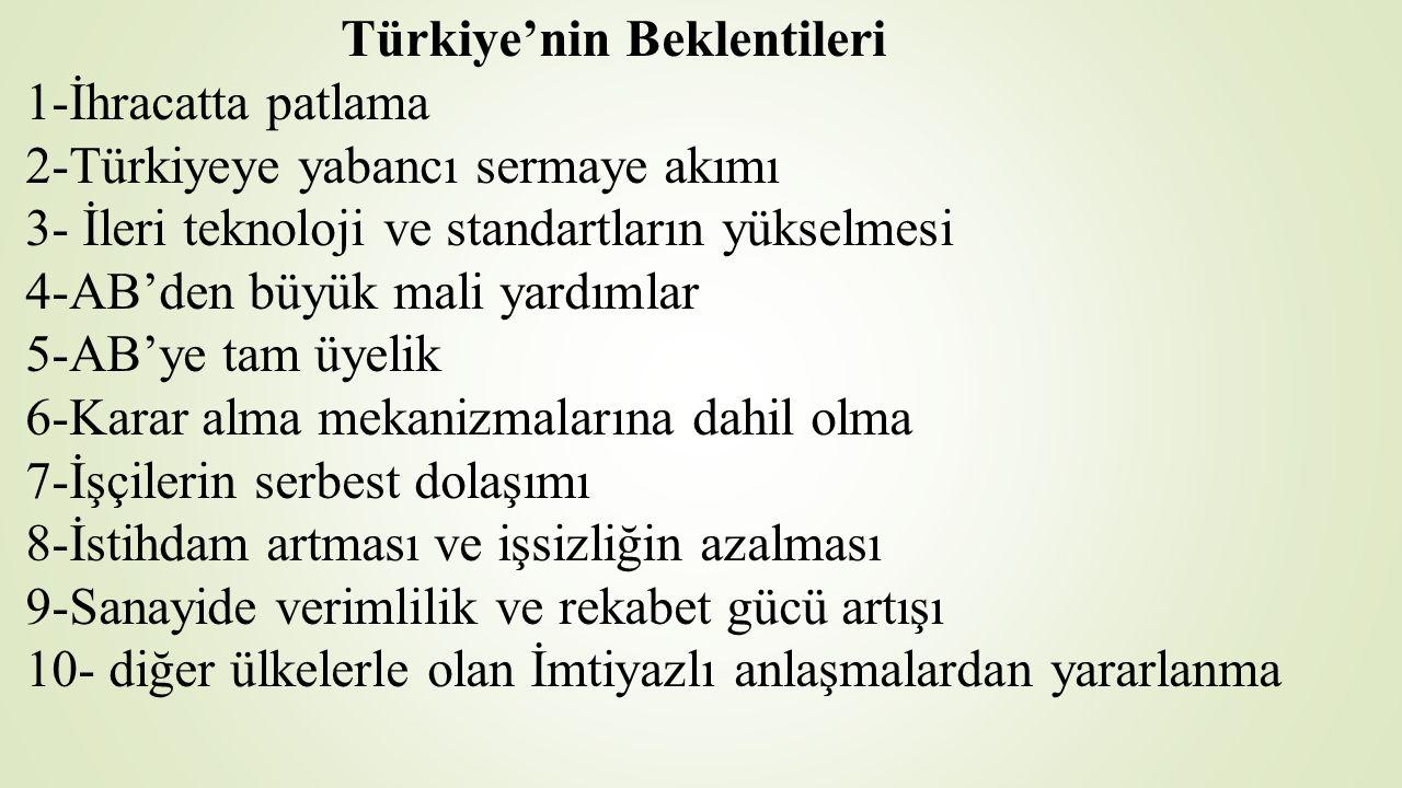 Türkiye'nin Beklentileri 1-İhracatta patlama 2-Türkiyeye yabancı sermaye akımı 3- İleri teknoloji ve standartların yükselmesi 4-AB'den büyük mali yard