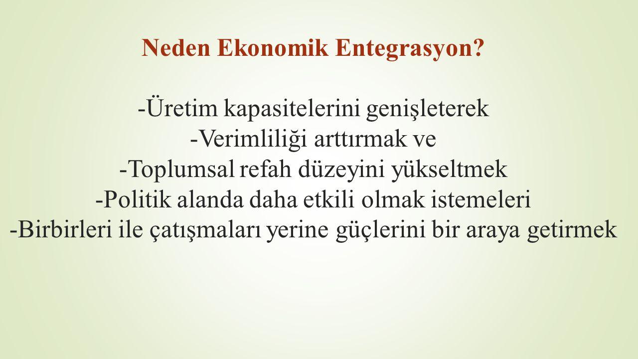 Neden Ekonomik Entegrasyon? -Üretim kapasitelerini genişleterek -Verimliliği arttırmak ve -Toplumsal refah düzeyini yükseltmek -Politik alanda daha et