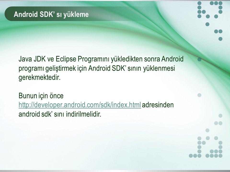 Android SDK' sı yükleme Java JDK ve Eclipse Programını yükledikten sonra Android programı geliştirmek için Android SDK' sının yüklenmesi gerekmektedir.
