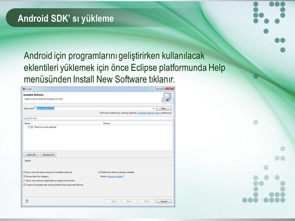 Android SDK' sı yükleme Android için programlarını geliştirirken kullanılacak eklentileri yüklemek için önce Eclipse platformunda Help menüsünden Install New Software tıklanır.