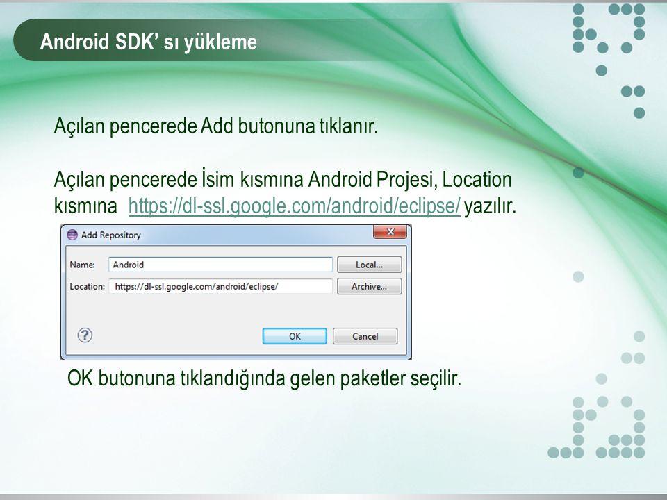 Android SDK' sı yükleme Açılan pencerede Add butonuna tıklanır.