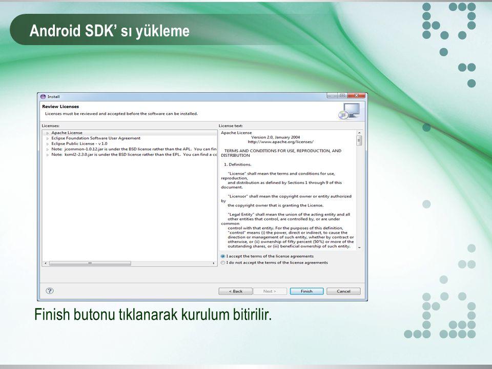 Android SDK' sı yükleme Finish butonu tıklanarak kurulum bitirilir.