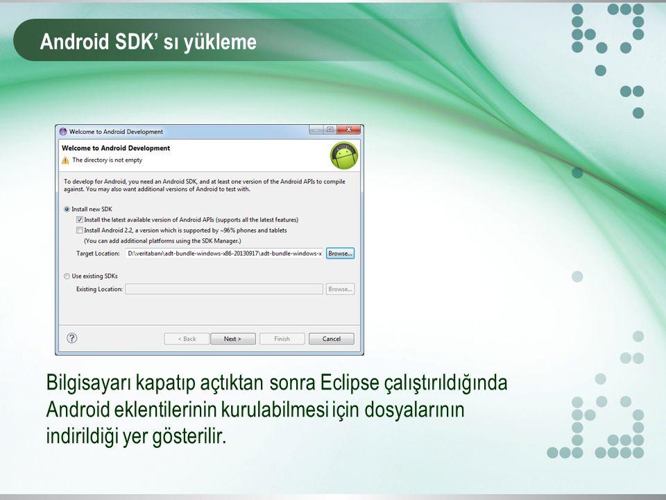 Android SDK' sı yükleme Bilgisayarı kapatıp açtıktan sonra Eclipse çalıştırıldığında Android eklentilerinin kurulabilmesi için dosyalarının indirildiği yer gösterilir.