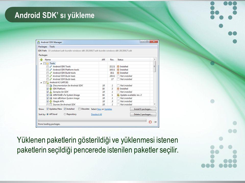 Android SDK' sı yükleme Yüklenen paketlerin gösterildiği ve yüklenmesi istenen paketlerin seçildiği pencerede istenilen paketler seçilir.