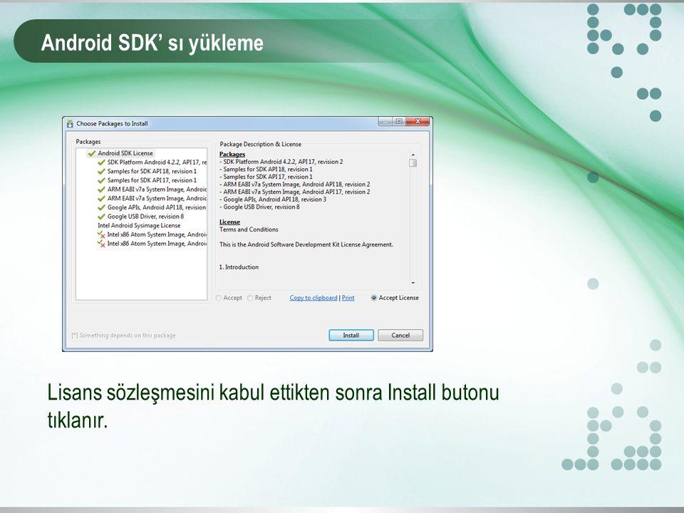 Android SDK' sı yükleme Lisans sözleşmesini kabul ettikten sonra Install butonu tıklanır.