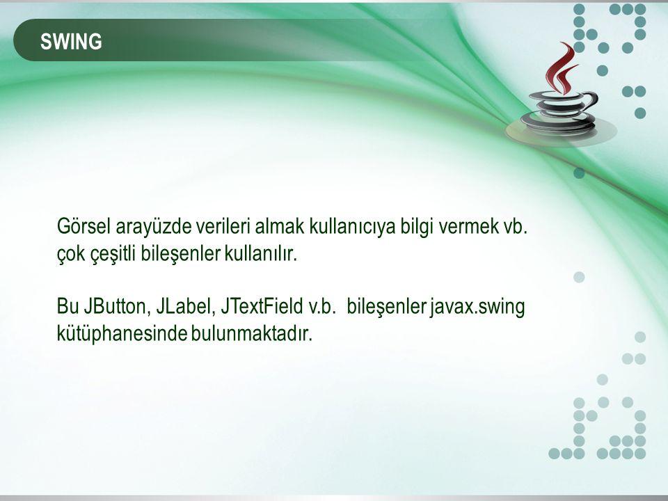 SWING Görsel arayüzde verileri almak kullanıcıya bilgi vermek vb.