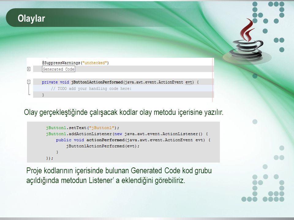 Olaylar Olay gerçekleştiğinde çalışacak kodlar olay metodu içerisine yazılır.