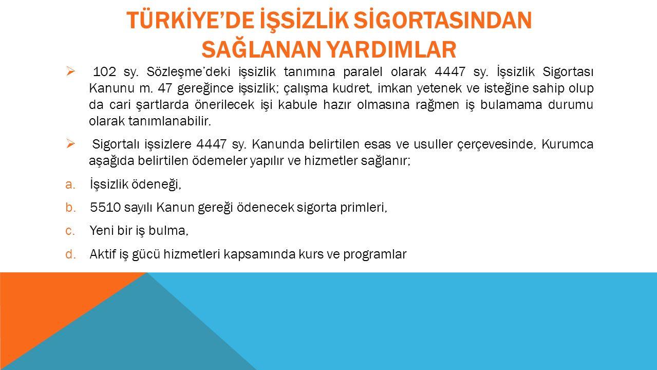 TÜRKİYE'DE İŞSİZLİK SİGORTASINDAN SAĞLANAN YARDIMLAR  102 sy.