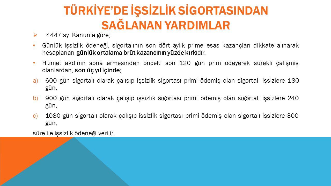 TÜRKİYE'DE İŞSİZLİK SİGORTASINDAN SAĞLANAN YARDIMLAR  4447 sy.