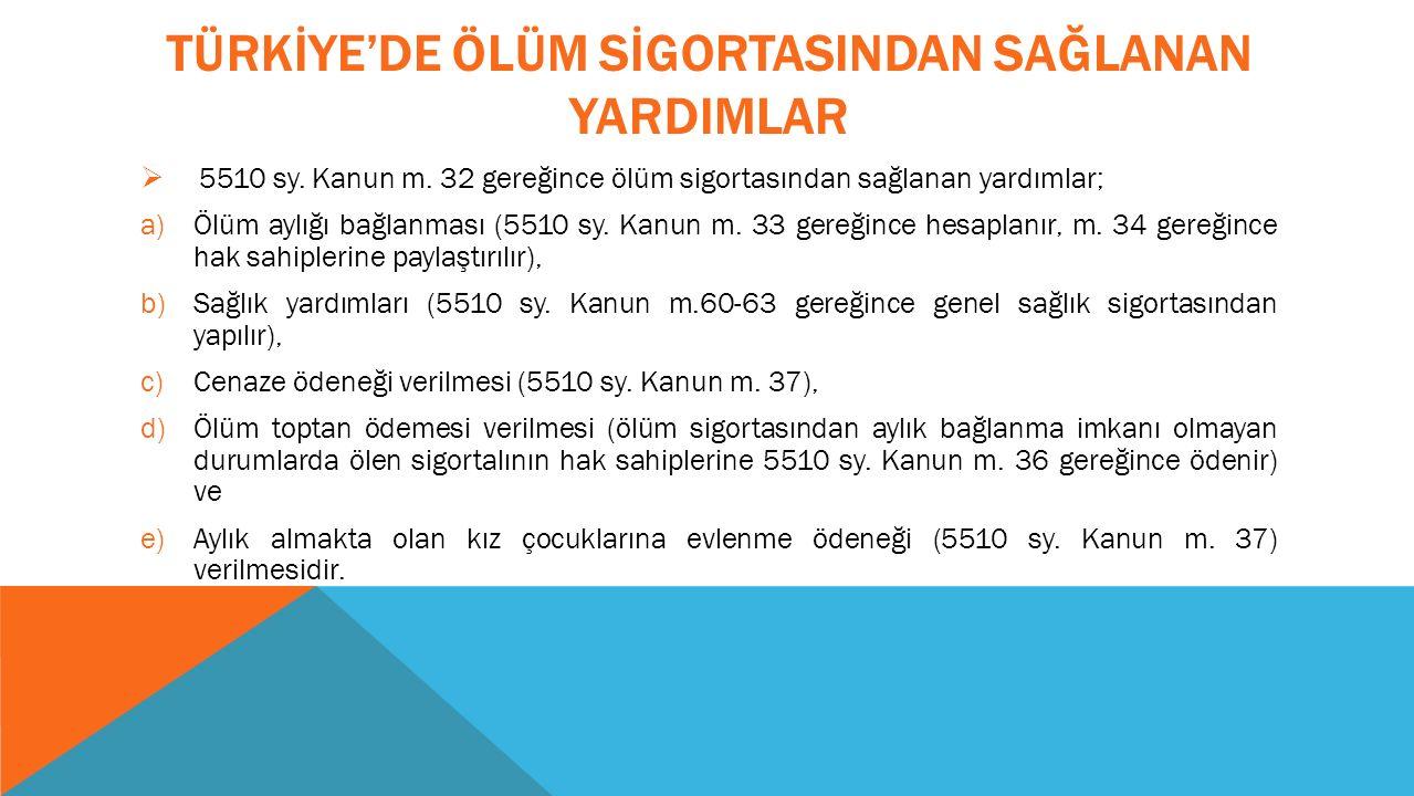 TÜRKİYE'DE ÖLÜM SİGORTASINDAN SAĞLANAN YARDIMLAR  5510 sy.