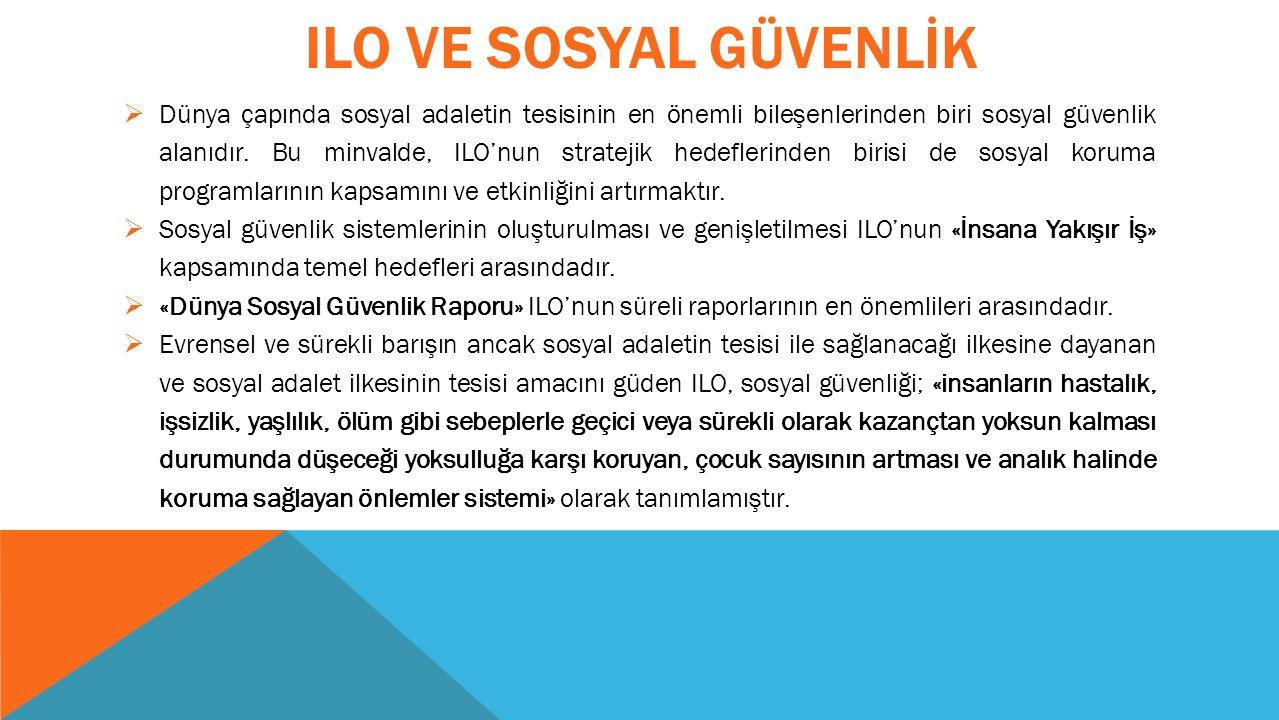 ILO VE SOSYAL GÜVENLİK  Dünya çapında sosyal adaletin tesisinin en önemli bileşenlerinden biri sosyal güvenlik alanıdır.