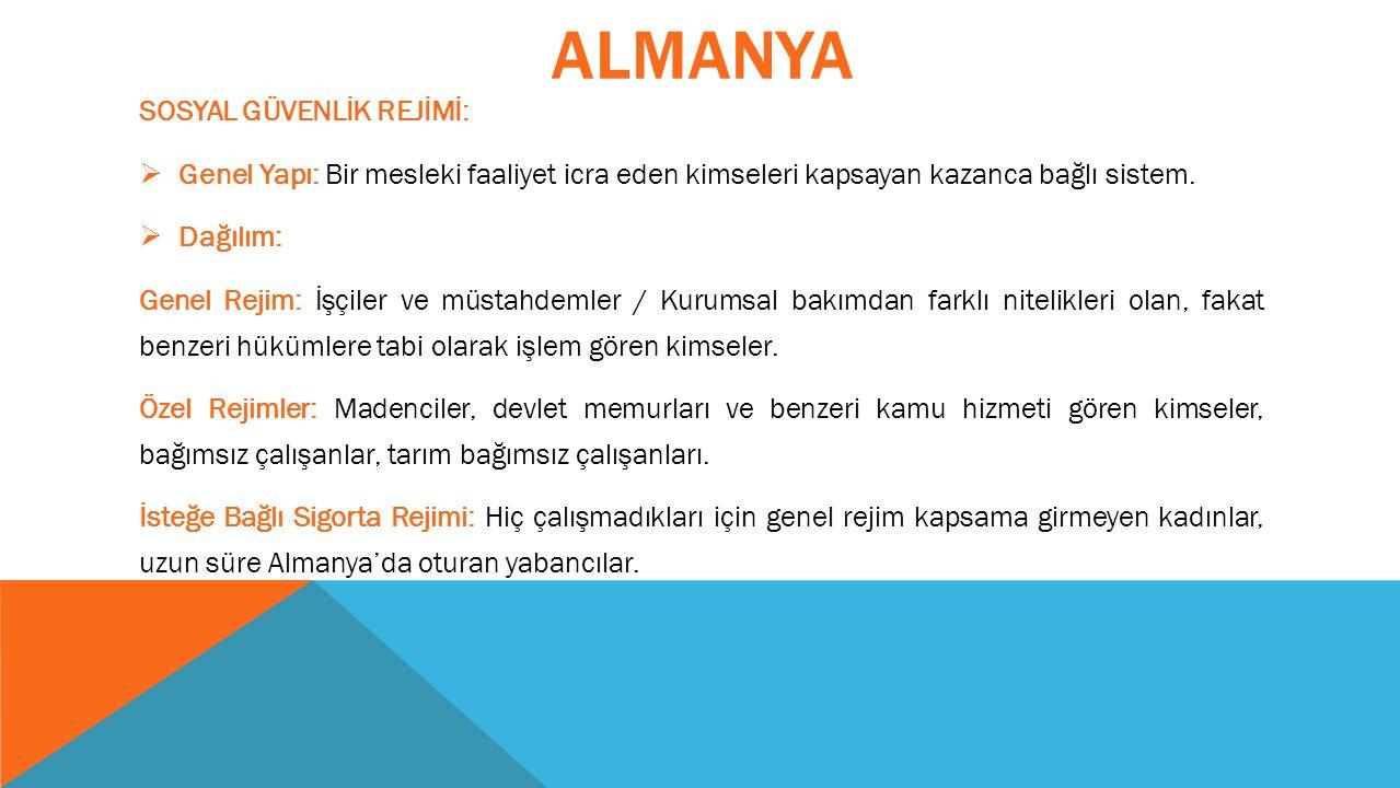 ALMANYA SOSYAL GÜVENLİK REJİMİ:  Genel Yapı: Bir mesleki faaliyet icra eden kimseleri kapsayan kazanca bağlı sistem.