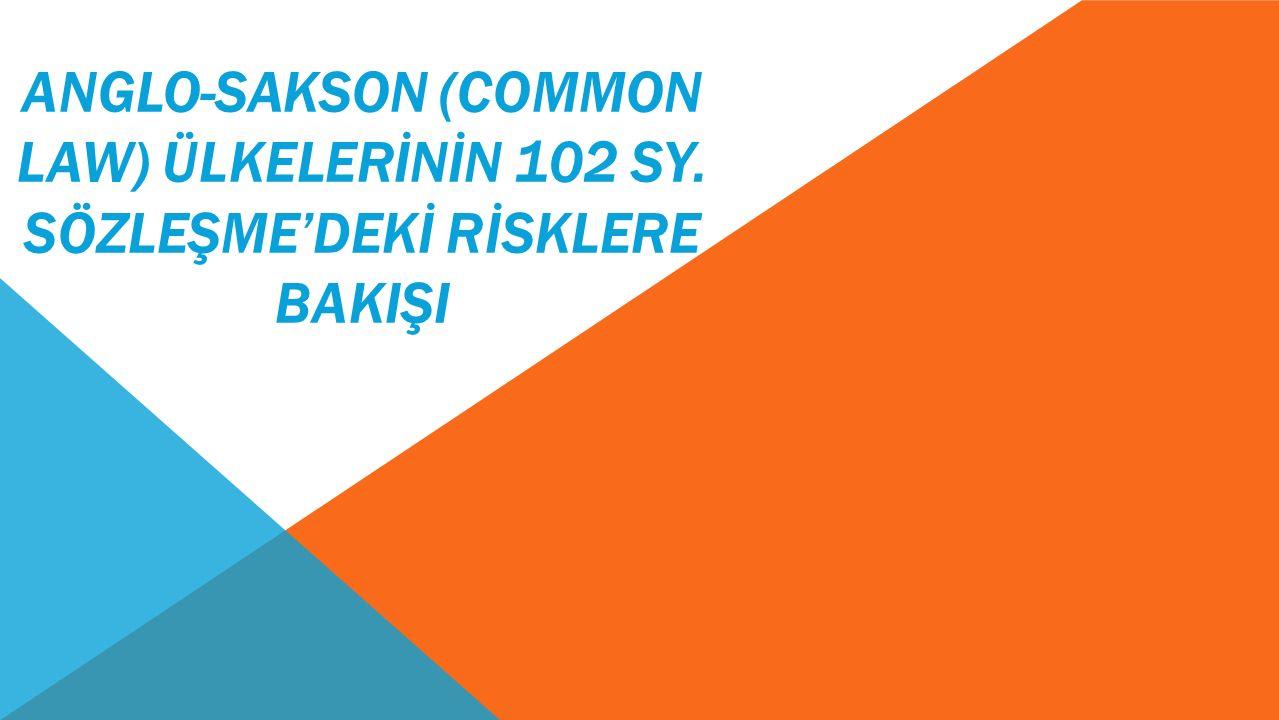 ANGLO-SAKSON (COMMON LAW) ÜLKELERİNİN 102 SY. SÖZLEŞME'DEKİ RİSKLERE BAKIŞI