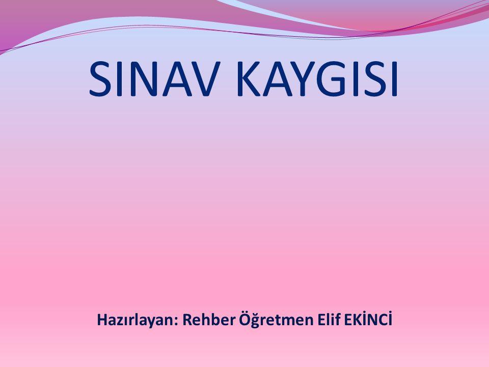 SINAV KAYGISI Hazırlayan: Rehber Öğretmen Elif EKİNCİ